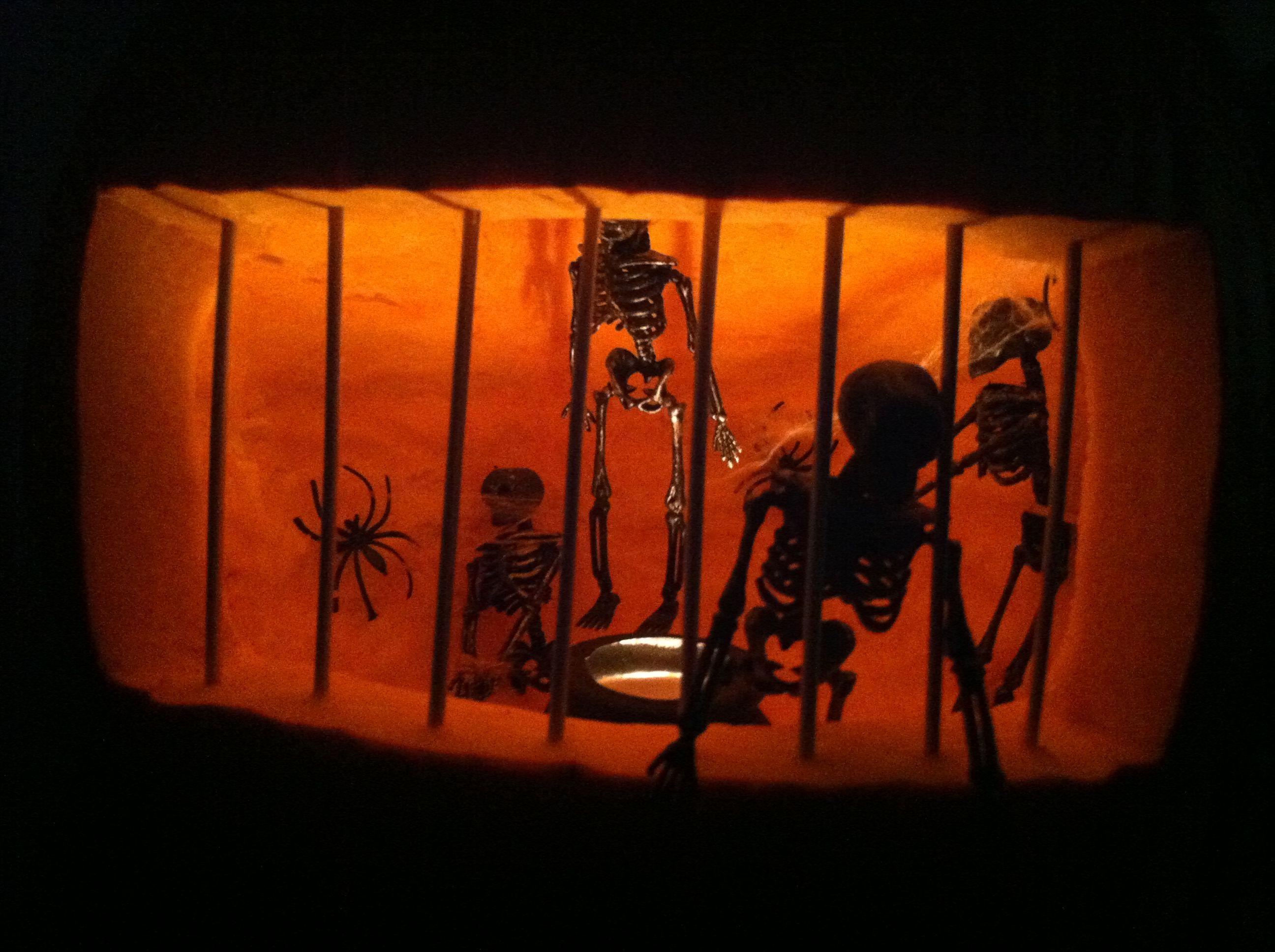 My skeleton jail pumpkin | Halloween Hauntings | Pinterest | Skeletons
