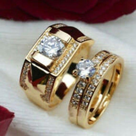 Elegant Flawless Mens Wedding Band 18K Yellow Gold Diamonds Filled