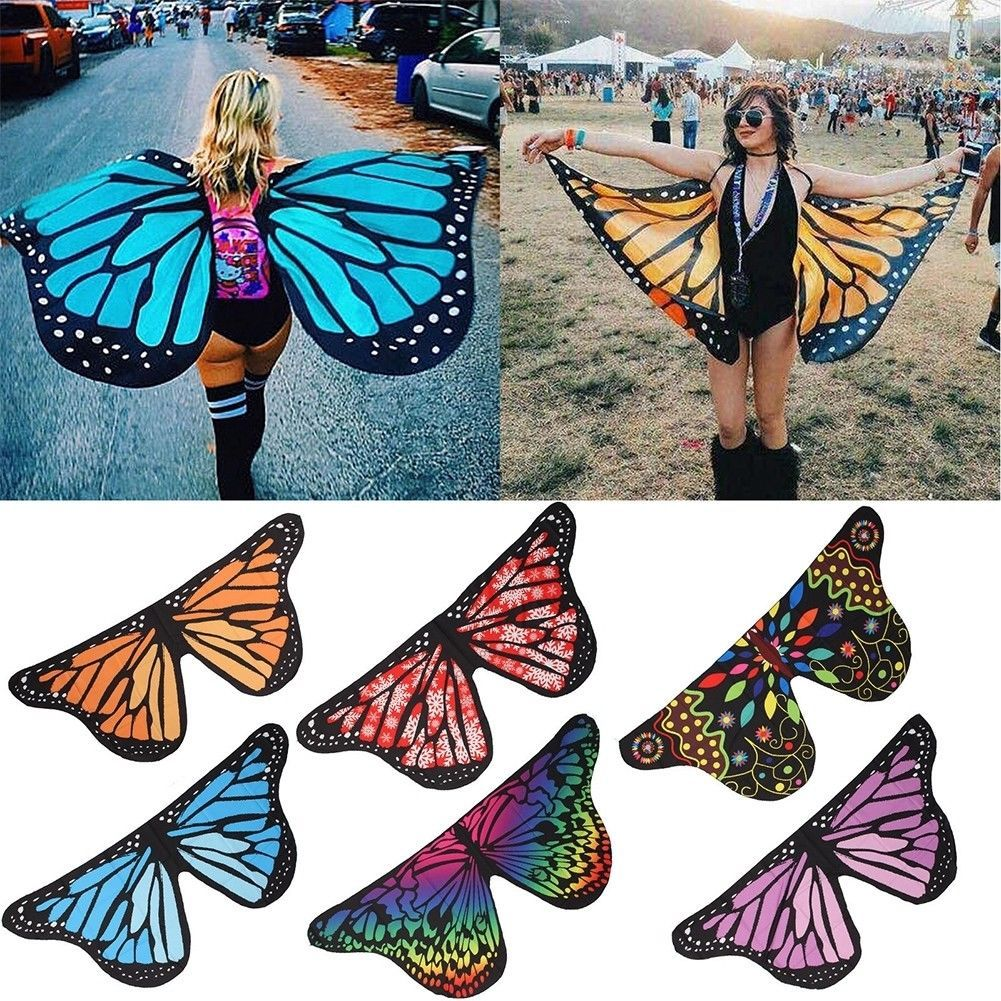 85832c804dc3f 4.15 GBP - Fabric Soft Butterfly Wings Shawl Fairy Ladies Nymph ...