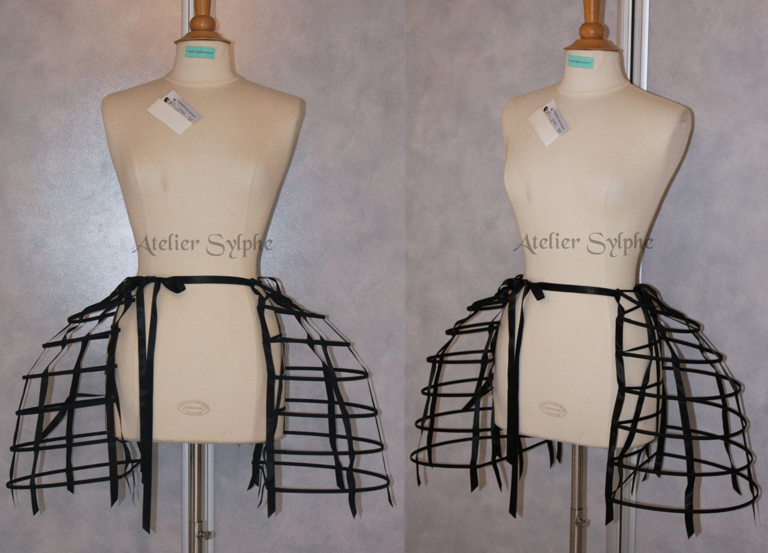 5137dd075d Two pieces worn together double pannier black ribbon and lacing ...