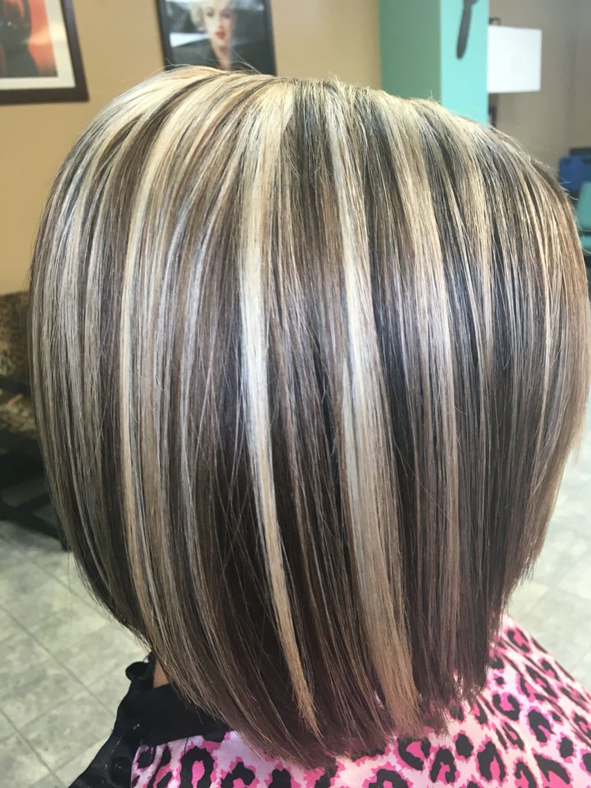 Light blonde highlights and chocolate brown lowlights hair by