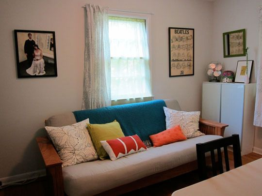 cute throw pillows maybe that go with accent wall to dress up the futon mtm in 2019 futon. Black Bedroom Furniture Sets. Home Design Ideas