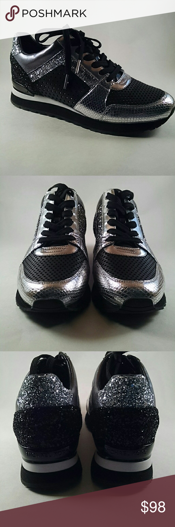 59f8fb208942 Michael Kors Black   Silver Sneakers 8.5M Billie Trainer. Black and silver.  Nice bling. New with box