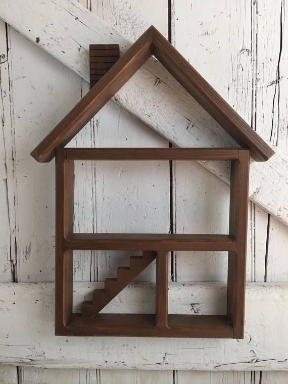Vintage Wooden Display Shelf House Shaped Wall Shelf 4