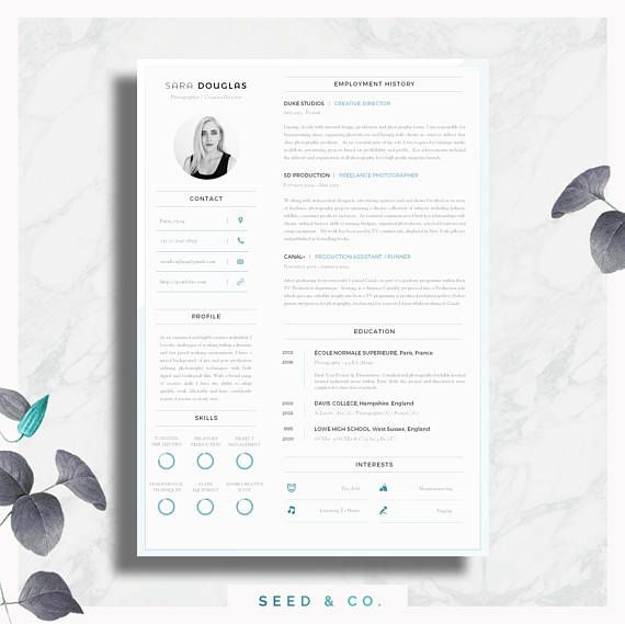 Modern Resume Template Single Page Resume Template + Cover Letter