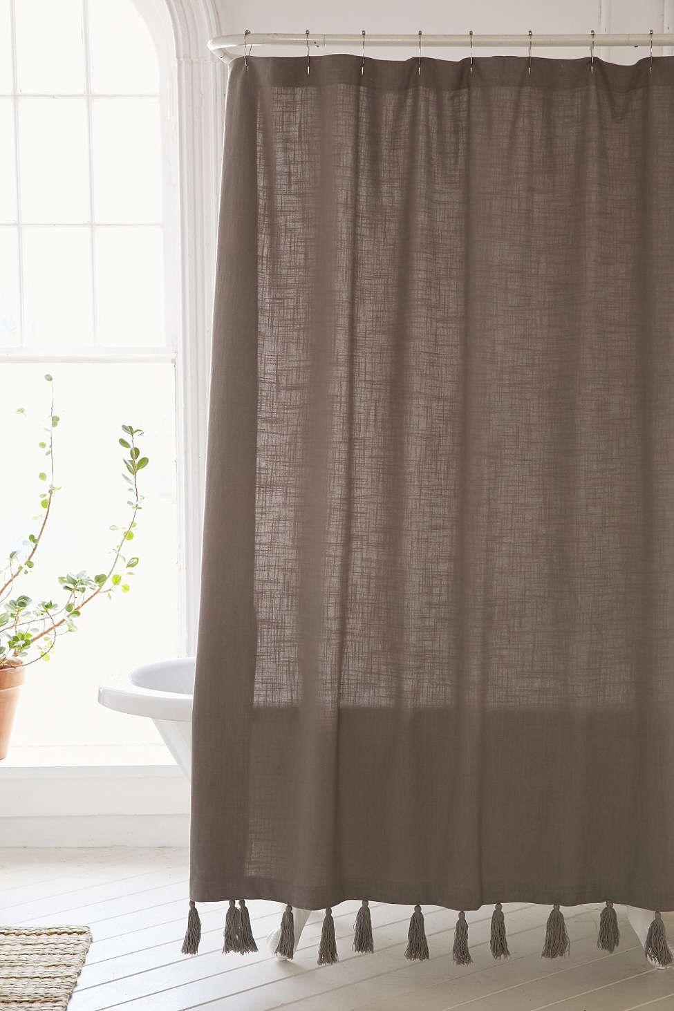 Plum Bow Tassel Fringe Shower Curtain