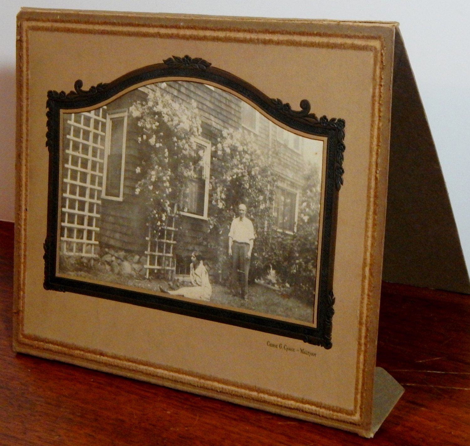 Large Antique Garden Photo in Ornate Folder by OffbeatAvenue on Etsy