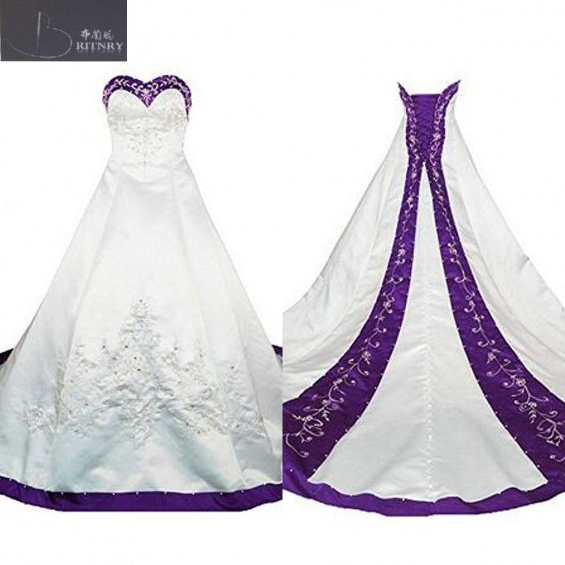 Purple A-line Sweetheart Wedding Dresses