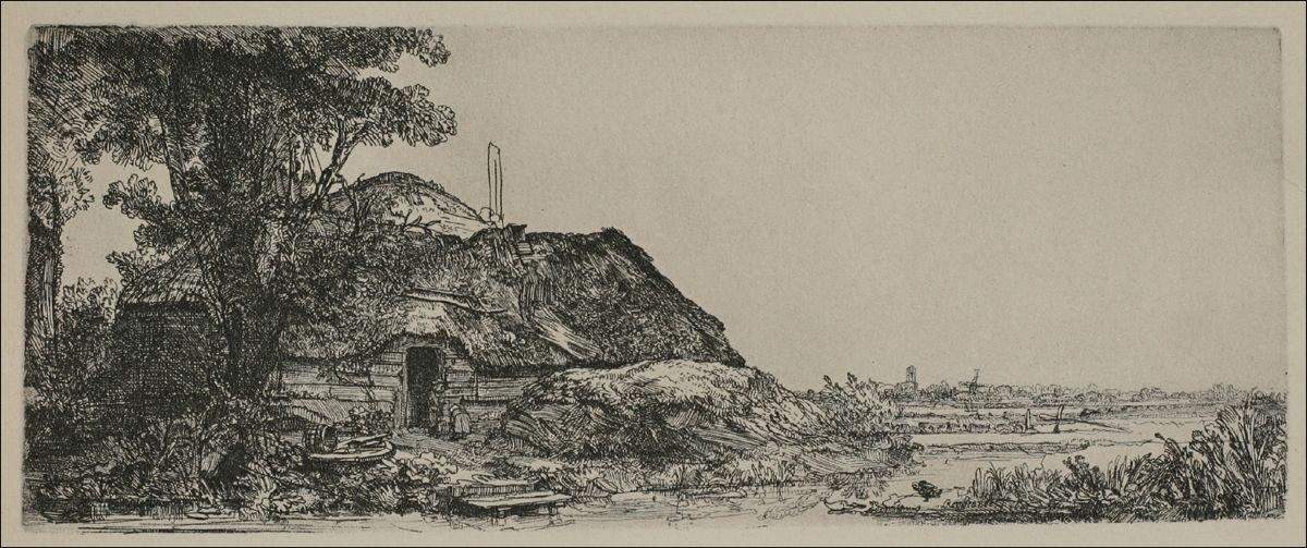 Rembrandt van Rijn -- A Large Landscape with a Mill-Sail 1641 126 x 320 mm.