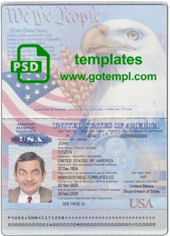 Usa Passport Template In Psd Format Fully Editable With All Fonts In 2021 Passport Template Templates Birth Certificate Template