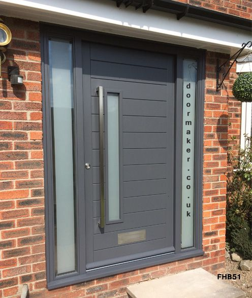 Contemporary grey door and frame side panels decoraci n for Front door and side panel