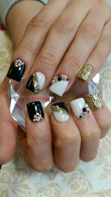 Black Gold And White Acrylic Nails With Swarovski Crystal Designs