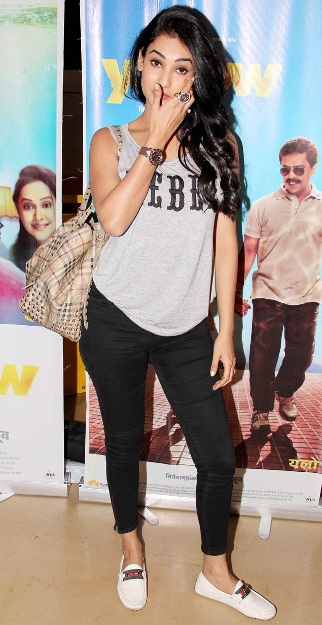 Sonal Chauhan at the screening of Marathi film Yellow. #Style #Bollywood #Fashion #Beauty