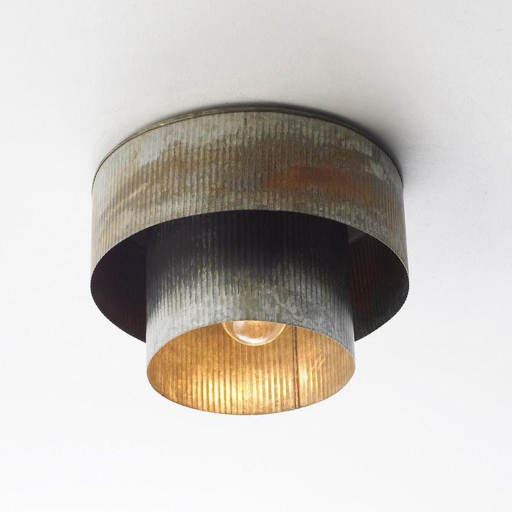 Corrugated Tin Drum Ceiling Light