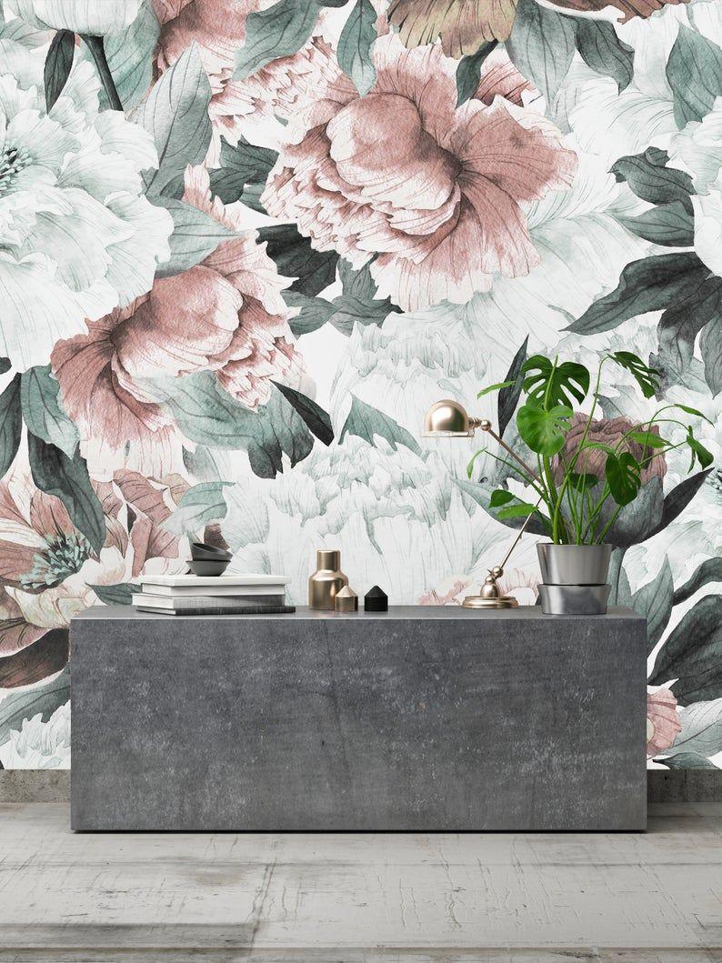 Removable Wallpaper Mural Peel Stick Vintage Bouquet Of Etsy In 2021 Mural Wallpaper Removable Wallpaper Wallpaper