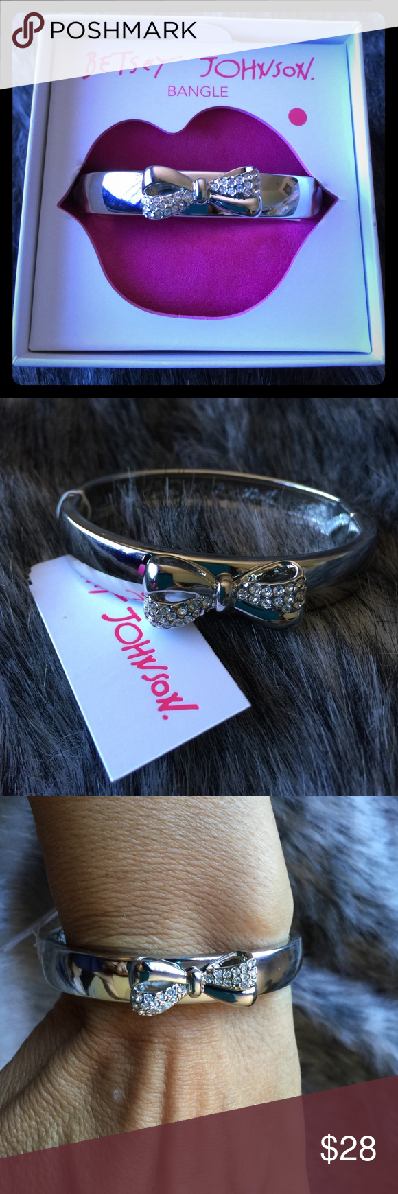 """Betsey Johnson Bow Bangle Gorgeous Betsey Bow Bangle 3/8"""" wide, bow has pave rhinestones.  Bangle inner diameter is 3.25"""" and is designed to fit a 6""""-7.5"""" wrist. You can see how roomy it is and on that part of my wrist I measure 6.5"""".  New in box.  Magnetic(strong) clasp.   Non-smoking home, new with tags.  Purchased from Betsey Johnson directly(the store).  Retails for $35. bundle for discount, not taking offers. Amy Betsey Johnson Jewelry Bracelets"""