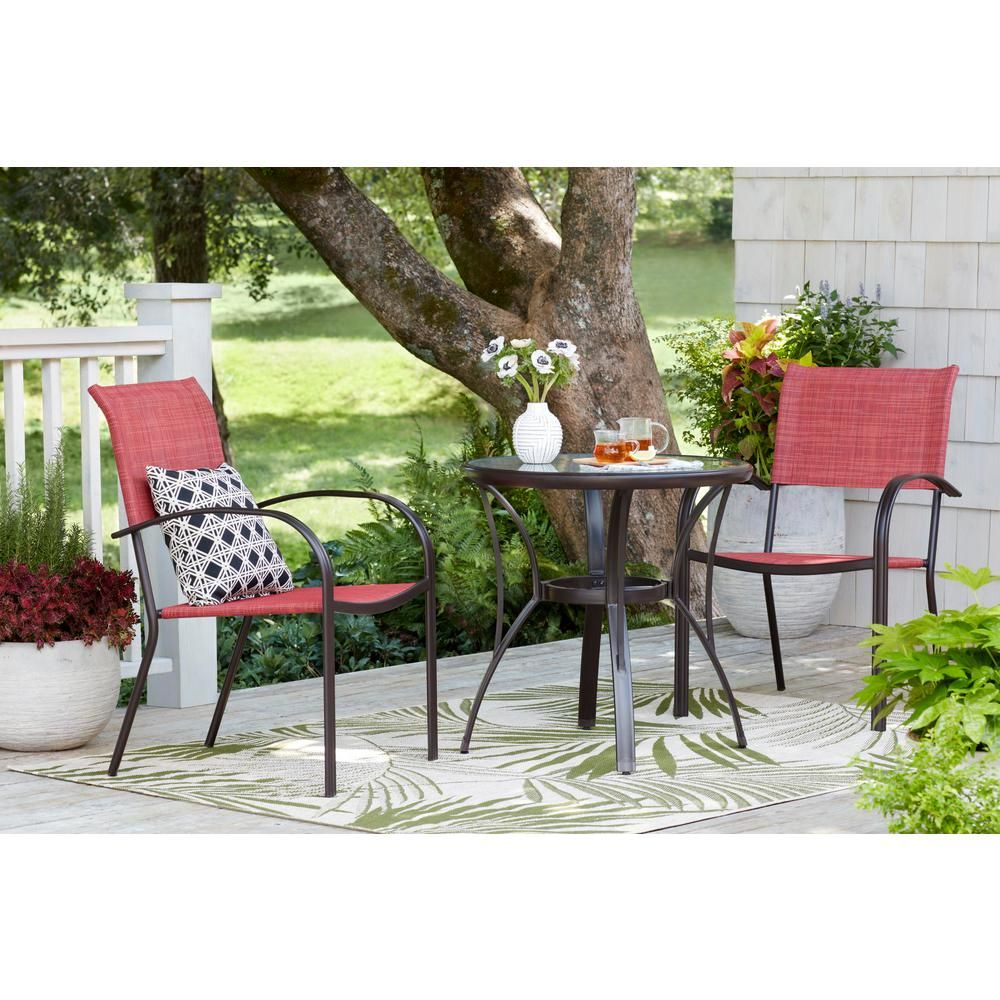 Mix And Match Brown Stackable Sling Outdoor Dining Chair In Chili