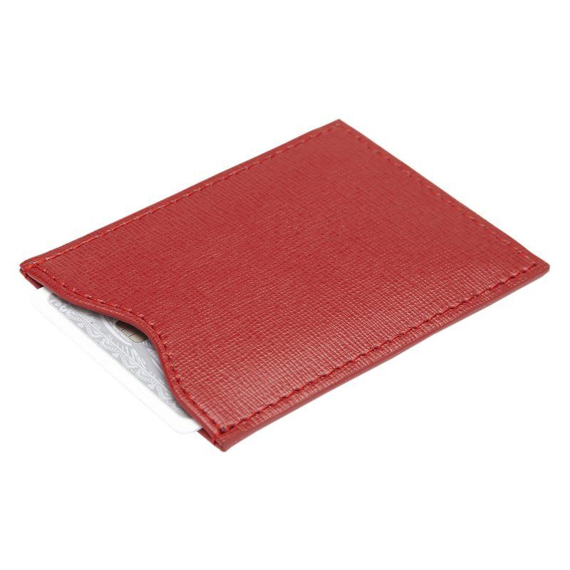Royce RFID Blocking Saffiano Leather Credit Card Sleeve Red - RFID-411-RED-2