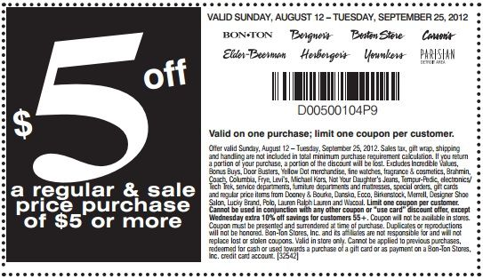 photo regarding Boston Store Printable Coupons known as Boston Keep $5 off any month to month sale value buy of