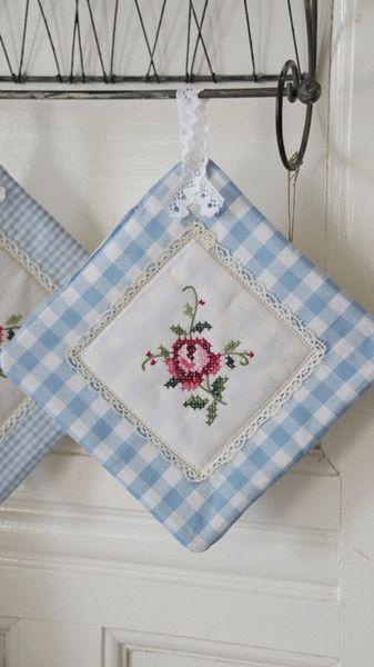 Topflappen - Topflappen Rose Shabby-Landhaus Tilda Green Gate - ein Designerstück von French-Romantic bei DaWanda #potholders
