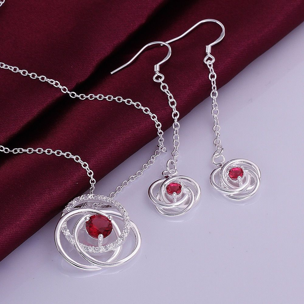 colors sterling silver zircon fancy flower necklace earrings