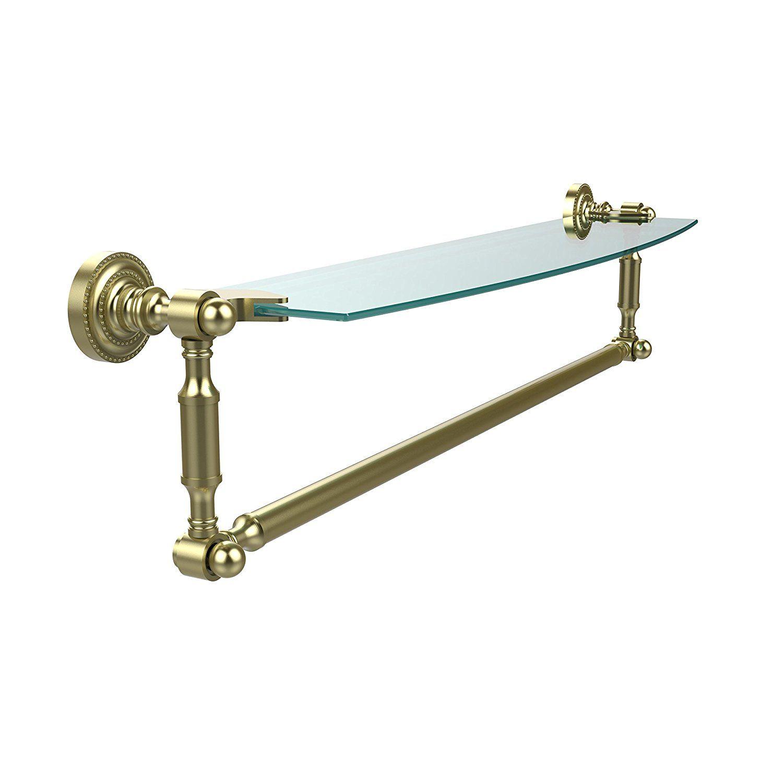 Allied Brass DT-33TB/24-SBR Glass Shelf with Towel Bar, 24-Inch x ...