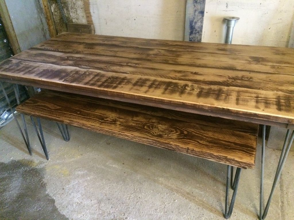 Recycled Scaffold Plank Board Table/bench On 12 Mm Hairpin Legs,   Romford,