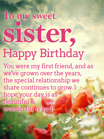 Birthday Wishes For Sister.A Sunny Sky Above And A Vibrant Garden Of Flowers Below