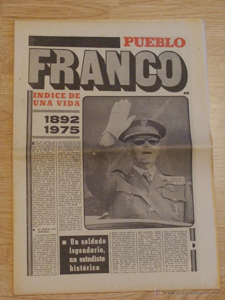 DIARIO PUEBLO FRANCO HA MUERTO 20 NOVIEMBRE DE 1975 NOTICIA HISTORICA ESPAÑA