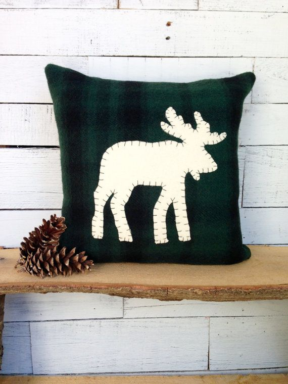 Moose Decor Pillow This Rustic Is Made From Dark Green Buffalo Plaid Wool Fabric The Ivory Hand Cut