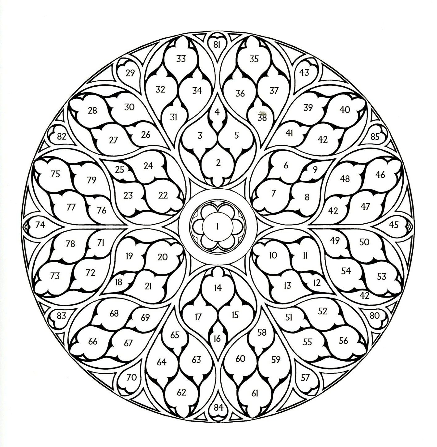 Img067 Jpg 1414 1445 Rose Coloring Pages Rose Window Mandala