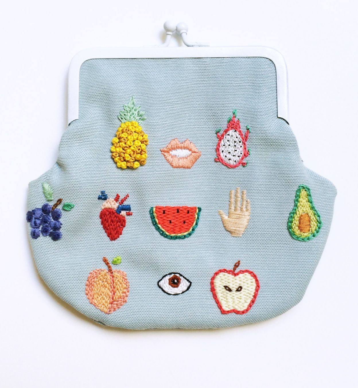 hand embroidered healthy fruits pale blue coin purse