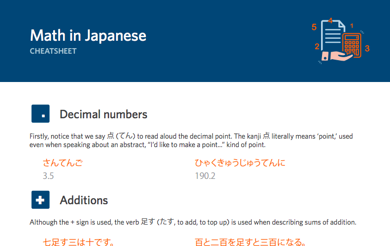 Learning math in Japanese? Download this free cheat sheet! https ...