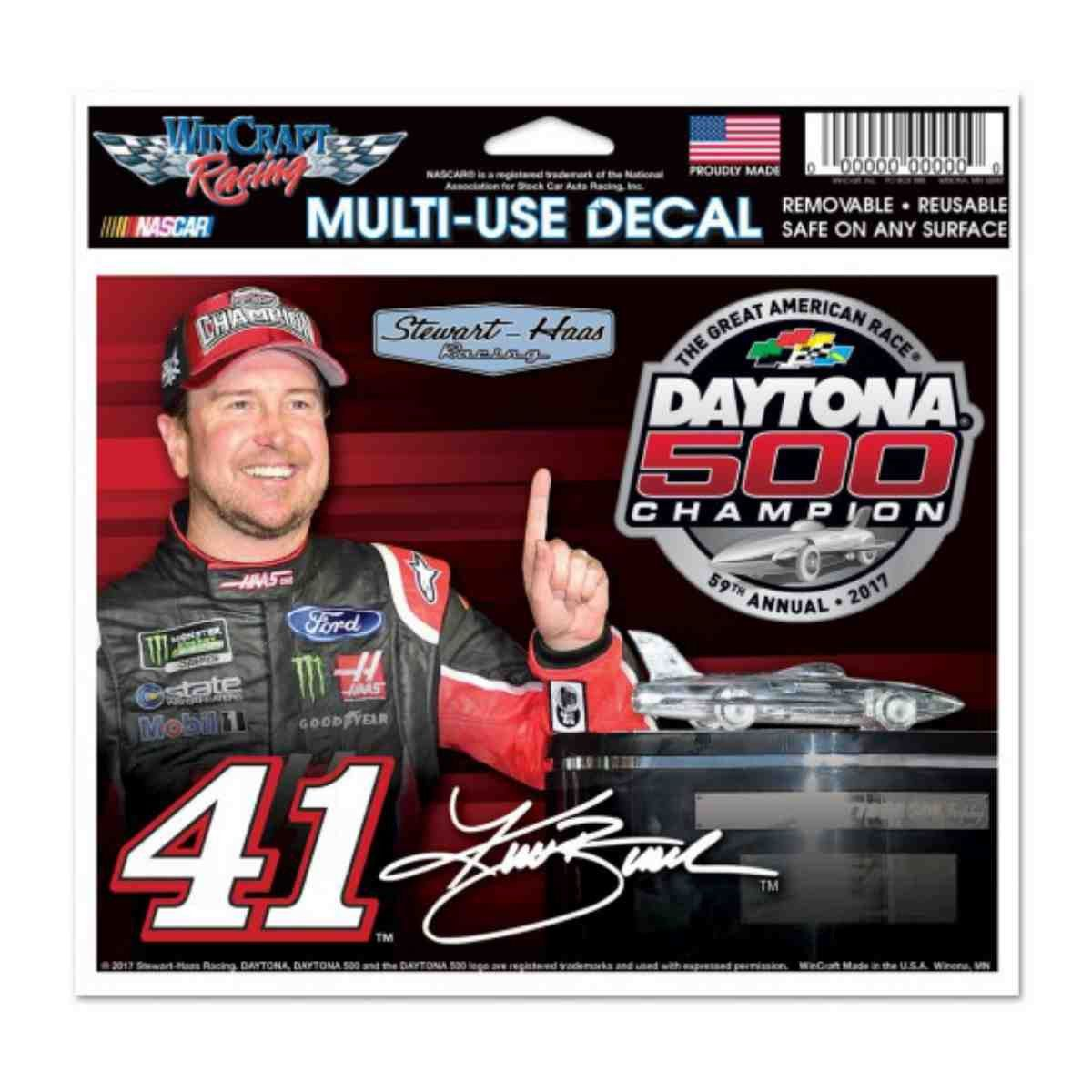 """Kurt Busch #41 2017 Daytona 500 Champion NASCAR Multi-Use Decal (4.5""""x6"""")"""