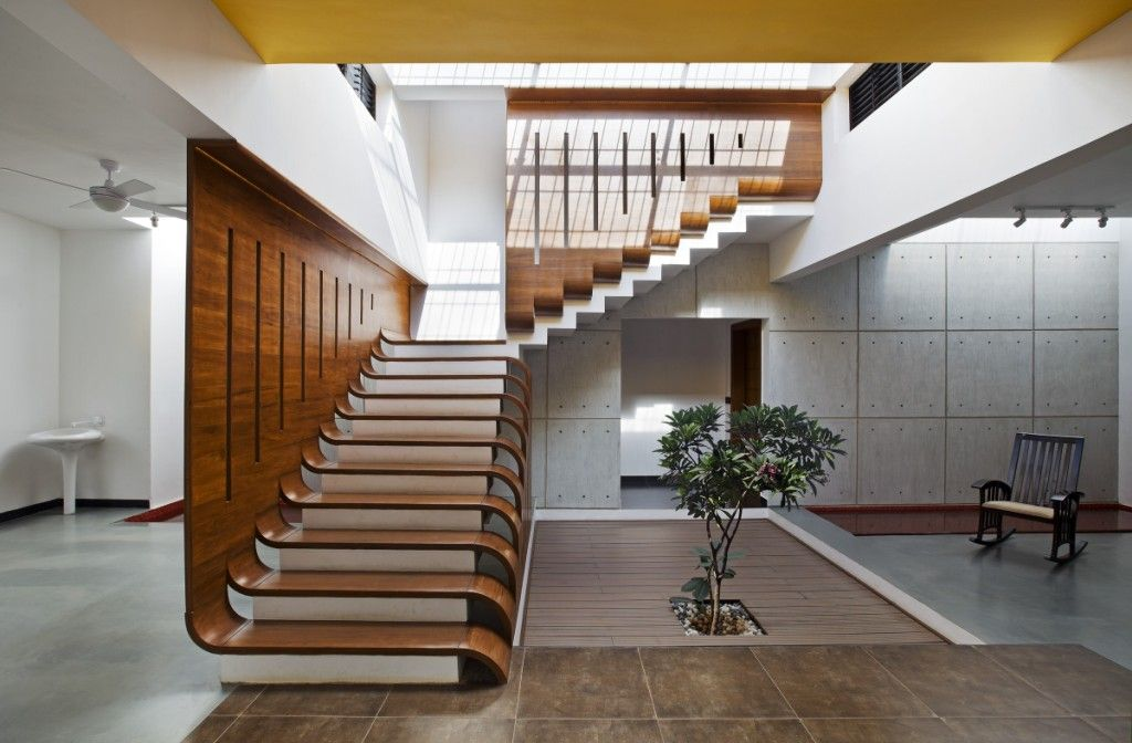 Best Teak Wood Staircase At Courtyard House Designed By 400 x 300