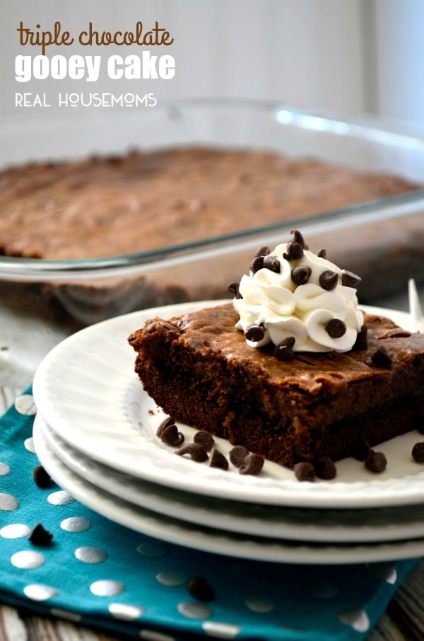 TRIPLE CHOCOLATE GOOEY CAKE is crazy easy to make and so incredibly decadent!