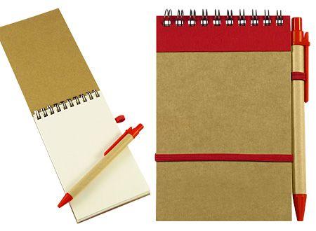 Libreta ecológica con bolígrafo. Variedad de colores