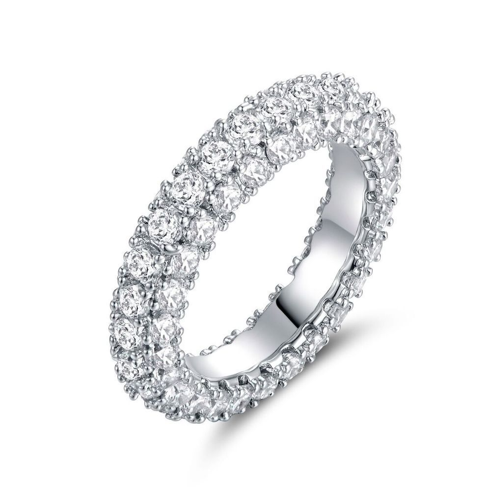 Barzel White Gold Plated Marquise-Cut Engagement Ring