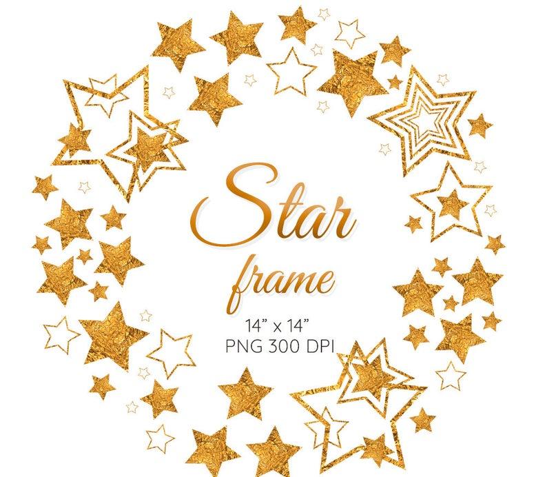 Gold Star Frame Clipart Christmas Wreath Invitation Wreath Etsy In 2021 Frame Clipart Clip Art Christmas Clipart