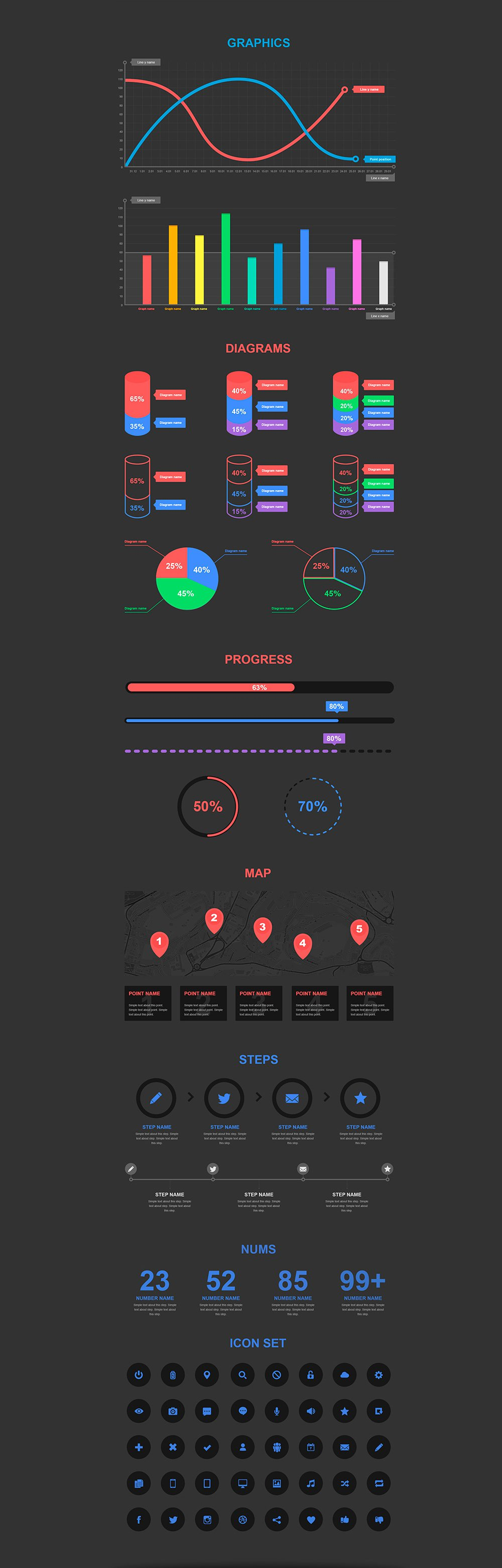 Free Infographic Elements PSD Infographic, Icon set, Diagram