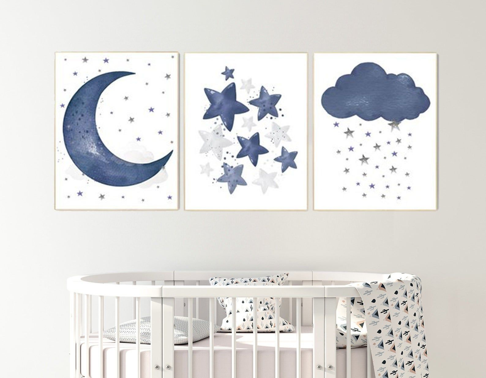 Navy Nursery Decor Moon Cloud And Stars Nursery Decor Boy Etsy Baby Room Wall Art Navy Nursery Decor Nursery Decor Boy