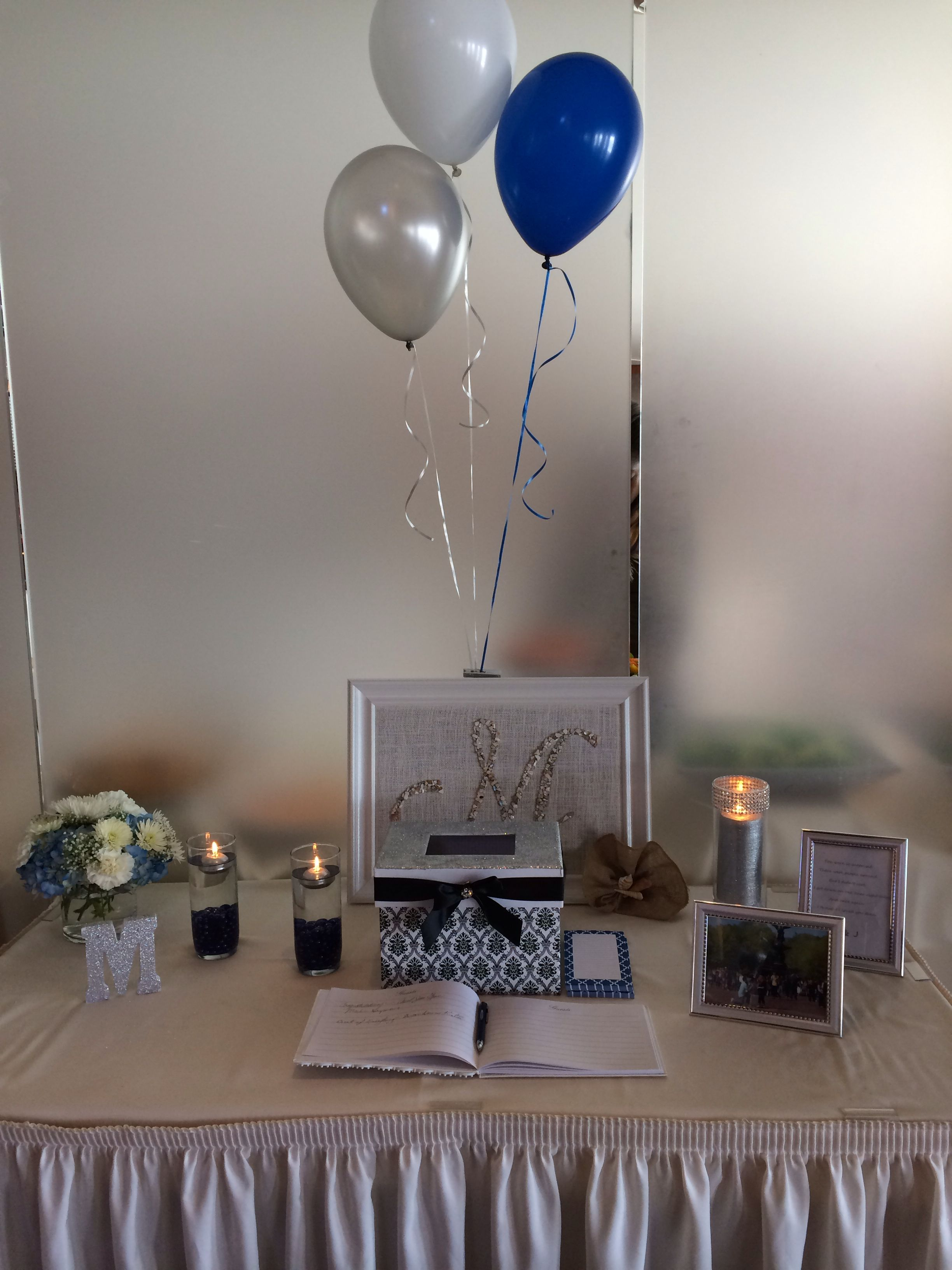 Bridal Shower blue, silver and white. Table with