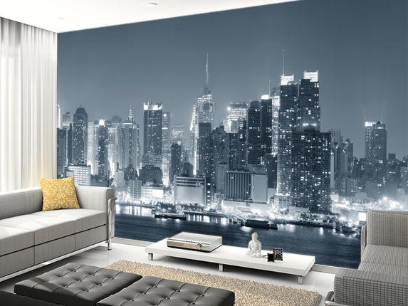 Manhattan Black U0026 White Panoramic Wall Mural Room Setting