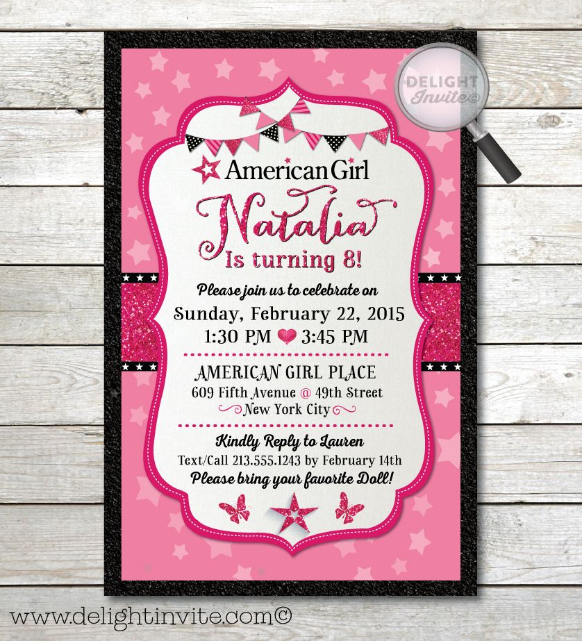 American Girl Birthday Invitations DI661 Custom Invitations and