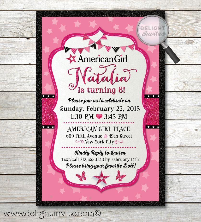 american girl birthday invitations [di-661] : custom invitations, Birthday invitations