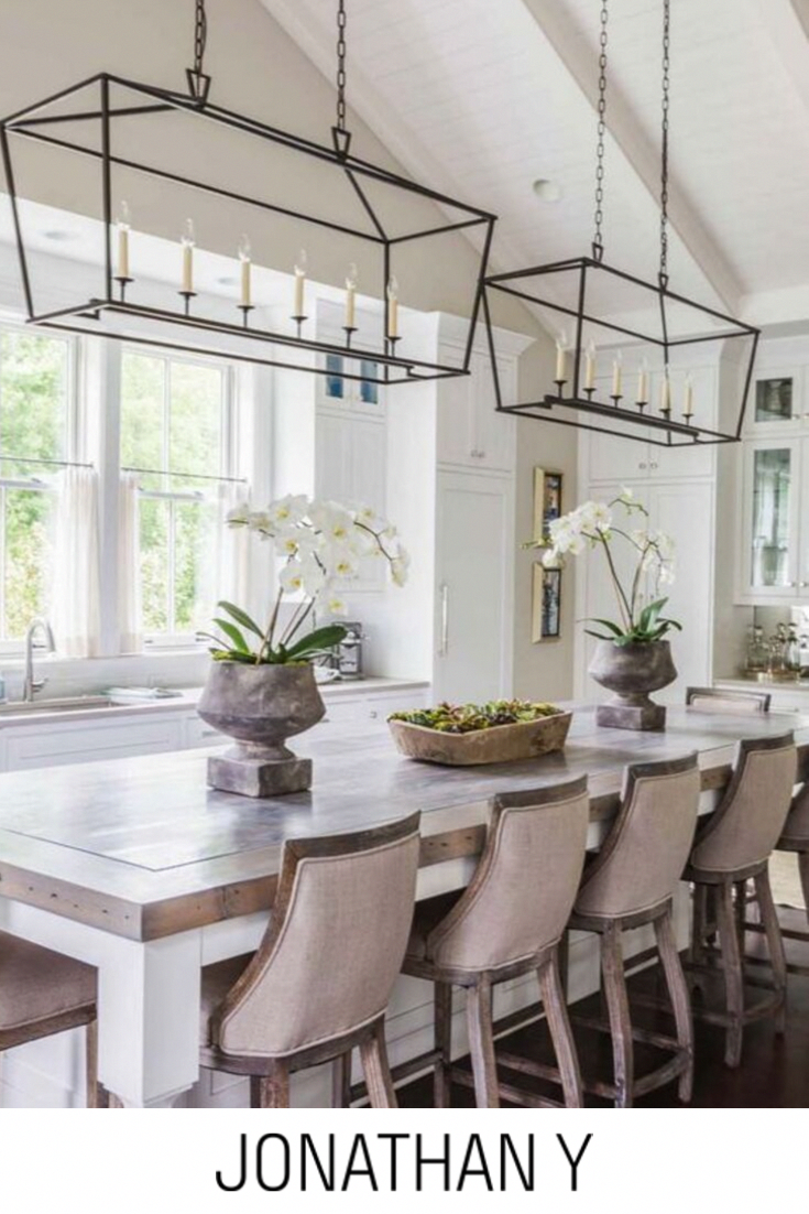 An open lantern-style design gives this chandelier an air of hospitality Adjustable chain link makes this fixture suitable for most ceiling heights.  #JonathanY #HomeDecor #Lamps  #DesignerLamps #ModernLighting #BedroomLighting #LanternLighting #KitchenLighting #PlantationStyle #SouthernHome