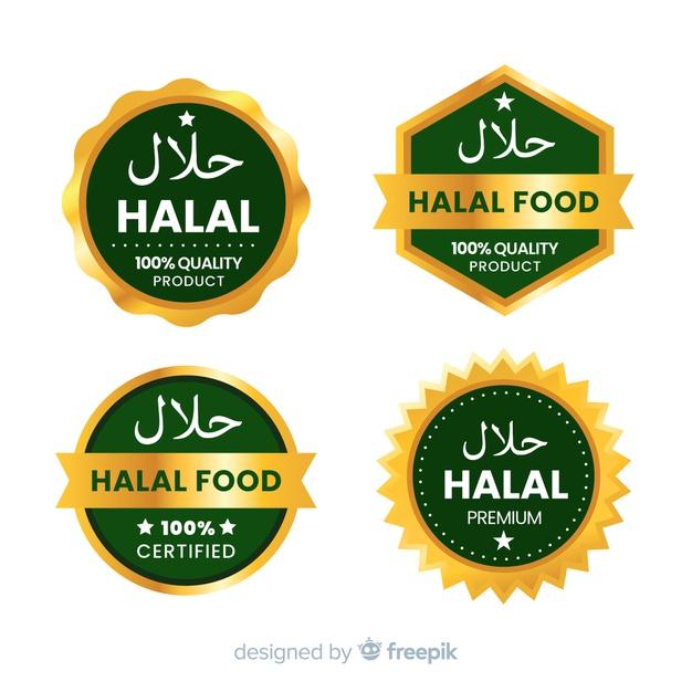 Set Of Halal Food Badges Free Vector Di 2020 Desain Pamflet Buku Gambar Desain