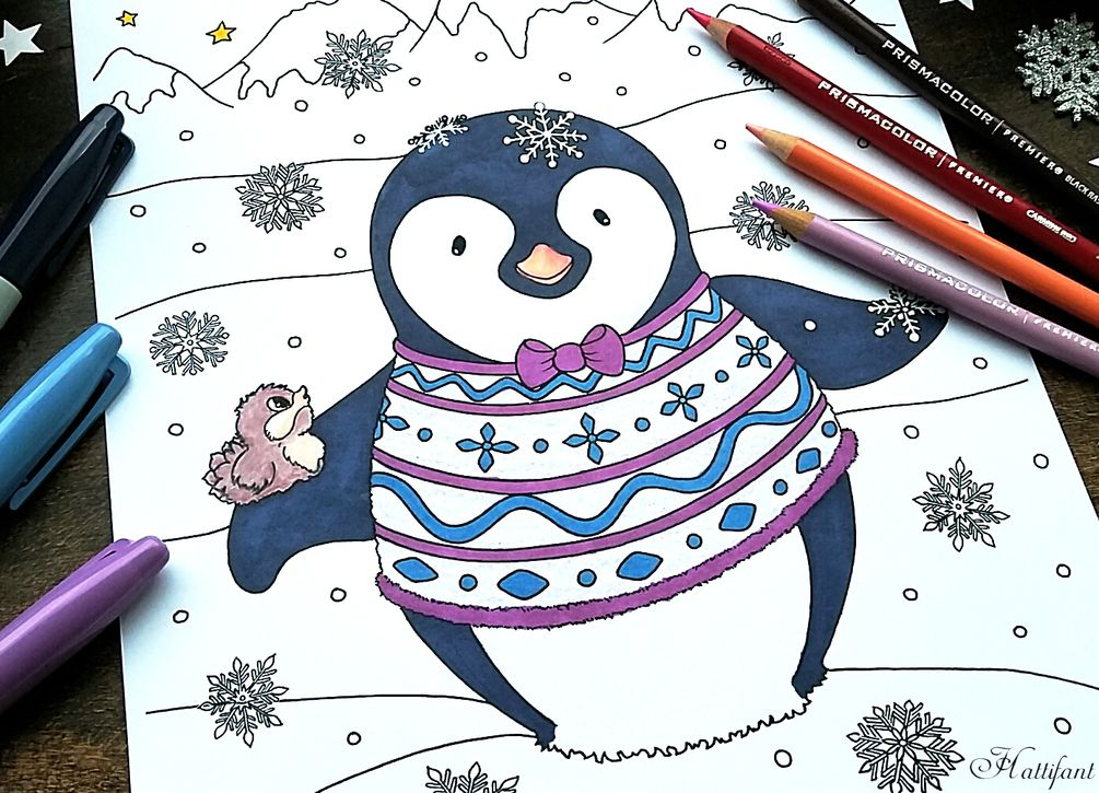 Penguin Coloring Page Christmas coloring pages Pinterest - new christmas coloring pages penguins