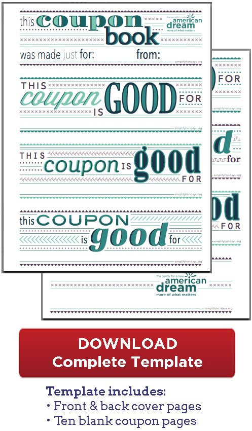 Coupon Book Download - great for the boys! For the Boys Coupon