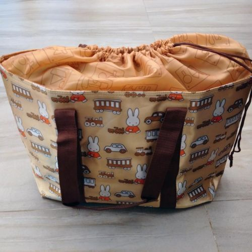Miffy Large Thick Nylon Waterproof Eco Shopping Travel Tote bag Golden Pattern